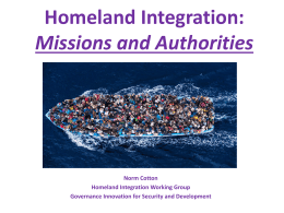 Homeland Integration(Missions and Authorities)