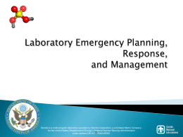 Laboratory Emergency, Planning, Response, and Management