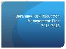 Barangay Risk Reduction Management Plan 2013-2016