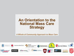 An Orientation to the National Mass Care Strategy