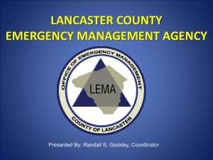 LANCASTER COUNTY EMERGENCY MANAGEMENT AGENCY