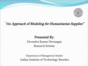 An Approach of Modeling for Humanitarian Supplies
