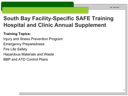 2013 Facility Specific Safety Training Supplement