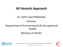 All Hazards Approach - Department of Environmental