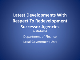 Redevelopment Agency Dissolution