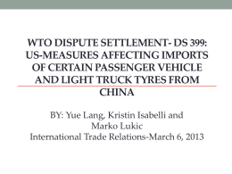 Wto dISPUTE sETTLEMENT- ds 399: US