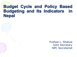 Budget cycle and policy based budgeting