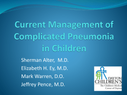 Current Management of Complicated Pneumonia in Children