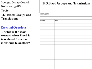14.3 Blood Groups and Transfusions