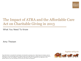 Wealth Planning ATRA and Charitable Giving
