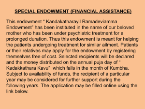 special endowment (financial assistance)