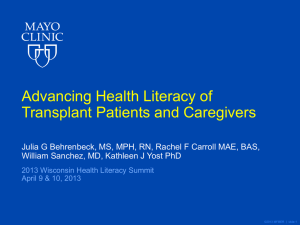 Advancing Health Literacy of Transplant Patients and Caregivers