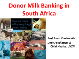 Donor Milk Banking in South Africa