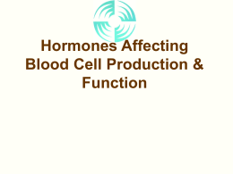 Hormones Affecting Blood Cell Production & Function