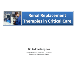 Renal replacement therapy in Intensive Care
