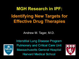 intro-to-tager-lab - Second Wind Foundation for Pulmonary Fibrosis