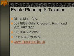 Estate planning - Diana Mau, Chartered Accountant