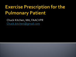 to Exercise Prescription for the Pulmonary Patient