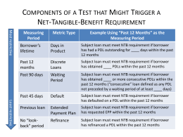 Possible Triggers for Net Tangible Benefit Test