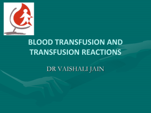 blood transfusion and transfusion reaction