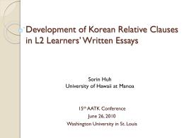 Development of Korean Relative Clauses in L2 Learners* Written