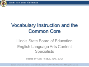 Vocabulary Instruction and the Common Core
