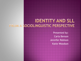 Language and Identity from a sociolinguistic perspective
