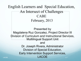 Essential Elements for EL in Special Education and Developing IEP