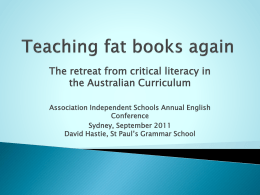 Teaching Fat Books Again - Association of Independent Schools of