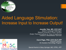 Aided Language Stimulation presentation