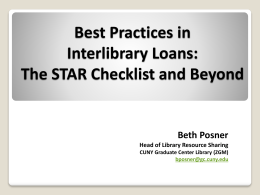 Best Practices in Library Resource Sharing: A Checklist from ALA