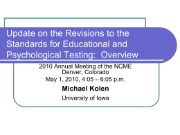 Review of AERA/APA/NCME Test Standards Revision and Students