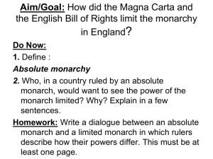 Aim: How did the Magna Carta and the English Bill of Rights it the