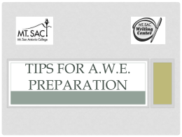 Tips for AWE Preparation Power Point