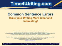 Common Sentence Errors Make your Writing More