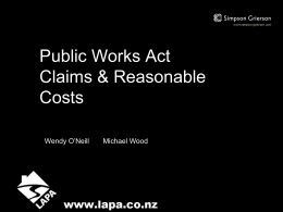 Public Works Act Disturbance Claims and Reasonable Costs