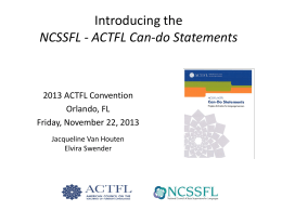NCSSFL - ACTFL Can-do Statements