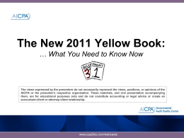 A Yellow Book and Single Audit Refresher & Update