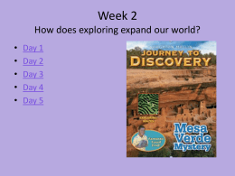 Journey to Discovery Week 2