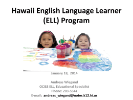 Hawaii English Language Learner (ELL) Program
