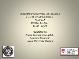 ELL 101 for Administrators - Leadership to INtegrate the Early