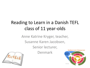 Reading to Learn in a Danish TEFL class of 11 year-olds