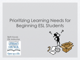 Prioritizing Learning Needs for Beginning ESL Students