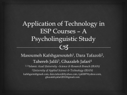 Application of Technology in ESP Courses * A