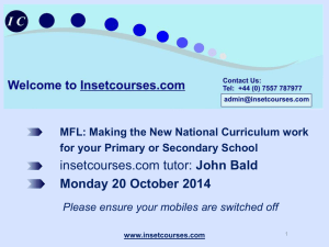Inset ppt master John Bald MFL Making the New N C