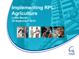Implementing Recognition of Prior Learning: Agriculture