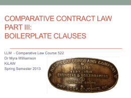 Boilerplate Clauses - Dr Myra Williamson