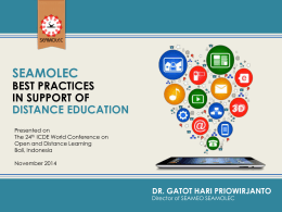 Gatot Hari Priowirjanto, SEAMOLEC Best Practices in Support of