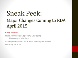 Sneak Peek: Major Changes Coming to RDA April 2015