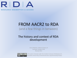 From AACR2 to RDA - National Library of Australia